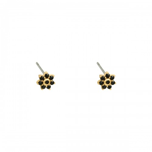 OORBELLEN MINI FLOWER Black